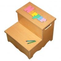 two step name puzzle stool in pastel colors