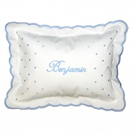 personalized baby pillow in blue