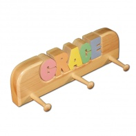 personalized coat rack in pastel colors