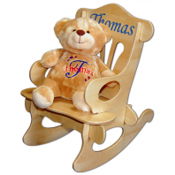 embroidered teddy bear and chair