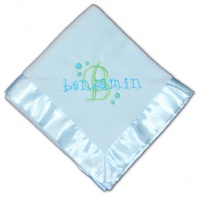 personalized baby blanket in blue