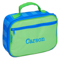 personalized blue and green lunch totes