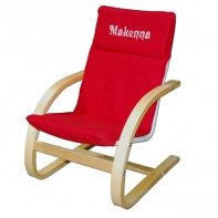 Personalized Embroidered Red Canvas Chair with white letters