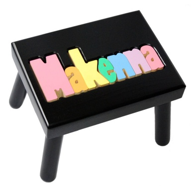 Black Name Puzzle Stool in Pastel Colors